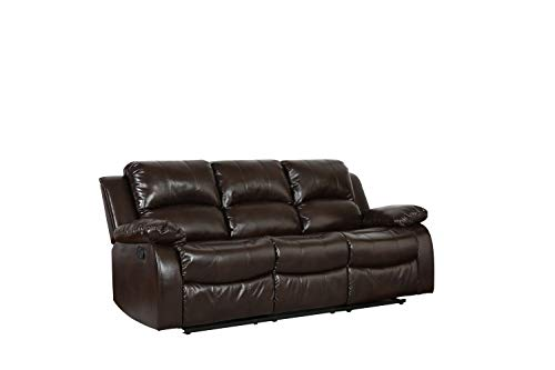 Blackjack Furniture Portico Collection Leather Air Mid Century Modern Living Room Reclining, Sofa,...