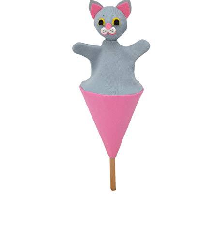 MU Brno - Marioneta de mano de gato gris en un cornete, 20 cm.