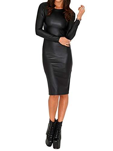 Minetom Kleid Damen Frauen Sexy Langarm PU Leder Bleistiftkleid Festlich Etuikleid Knielang Bodycon Minikleid Clubwear Cocktail Party Abend Kleider Schwarz 01 DE 44
