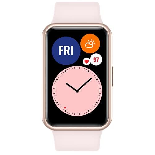 """HUAWEI WATCH FIT Smartwatch, Display AMOLED da 1.64"""", Animazioni Quick-Workout, Durata della Batteria 10 Giorni, 96 Modalità di Allenamento, GPS Integrato, 5ATM, Monitoraggio del Sonno, Pink"""