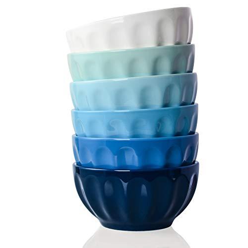 SWEEJAR Ceramic Fluted Bowl Set, 26 oz for Cereal, Salad, Pasta, Soup, Dishwasher Microwave Safe - set of 6(Similarcolour)