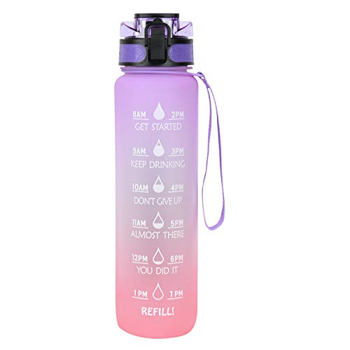 Azebo 1L Wasserflasche mit Motivations-Zeitmarkierungen und Tee-Fruchtsieb, Tritan BPA-frei wiederverwendbarer, auslaufsicherer Trinkkrug für das Outdoor-Sportbüro, 1 Liter, lila / orange