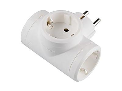 Legrand, 050662 Adaptadores - Adaptador triple con entrada lateral, enchufe en color blanco, potencia máxima de este ladron es de 3680 W, 10/16 A a 230 Voltios
