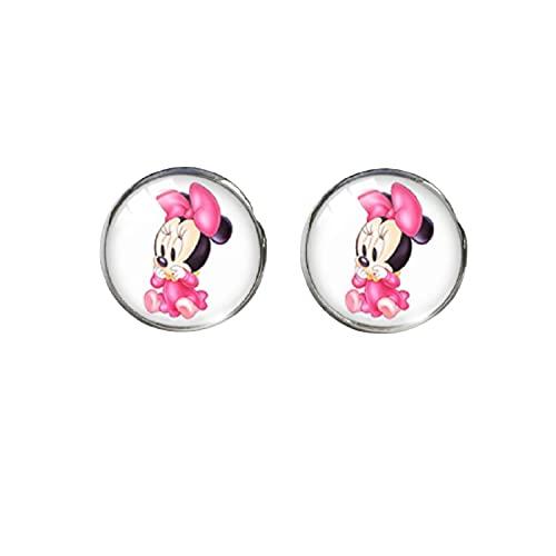 Pendientes de cristal redondos con diseño de Mickey Mouse Minnie Donald Duck para niñas