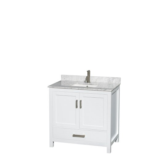 Wyndham Collection Sheffield 36 inch Single Bathroom Vanity in White, White Carrara Marble Countertop, Undermount Square Sink, and No Mirror