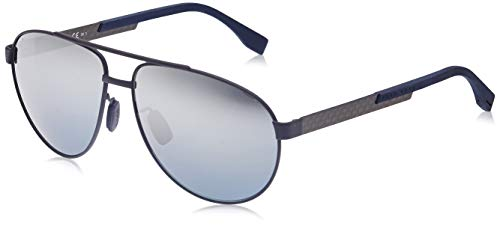 Hugo Boss BOSS 0752/F/S 9U KCS Gafas de sol, Azul (Mtblueecarbon/Grey Mesh Slv), 63 Unisex-Adulto