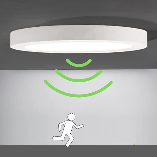 LED Deckenleuchte Deckenlampe Wandleuchte Wandlampe mit Bewegunsmelder Bewegungssensor, weiss, ultraslim (LED Deckenlampe rund, PIR Sensor, 18W, warmweiss, 1 Stück)
