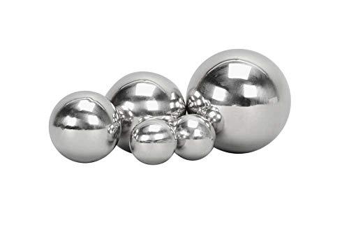 Posiwio Deko Kugel 4er Set Edelstahl, Silber Glanz D 4, 6, 7, 8,5 cm
