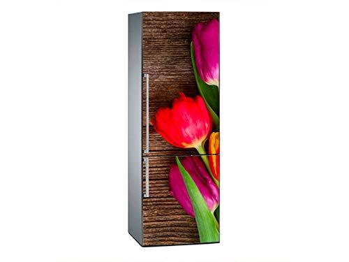Oedim Pegatinas Vinilo para Frigorífico Tulipanes púrpuras y Rojos Fondo de Madera | 185x60cm | Adhesivo Resistente y de Fácil Aplicación | Pegatina Adhesiva Decorativa de Diseño Elegante