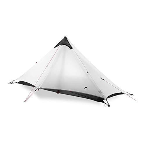 2 person 1 person outdoor ultralight camping tent 3 season 4 season professional 15D Silnylon poleless tent (Color : Season 3 Gray 1P)