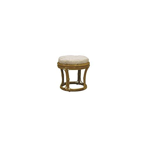 AUBRY GASPARD Tabouret Pouf en rotin Miel + Coussin en Tissu 100% Coton