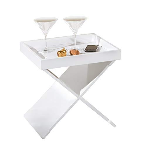 Inter Link 99800570 Beistelltisch Wohnzimmertisch Nachttisch Tablett Tisch Tabletttisch weiß NEU