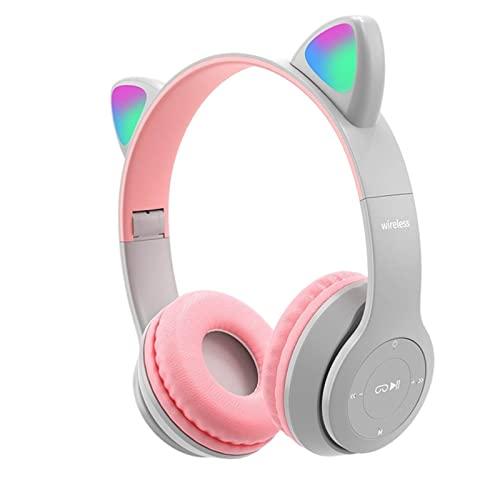 B Blesiya Auriculares inalámbricos Cat Ear, Control de Volumen Plegable, Sonido Envolvente, luz LED, Auriculares con cancelación de Ruido con micrófono para TV, Gris