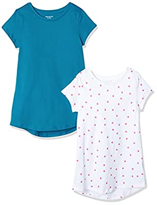 Amazon Essentials Girl's 2-Pack Tunic, Crystal Teal/White with Raspberry Sorbet Mixed Star Print, L from Amazon Essentials