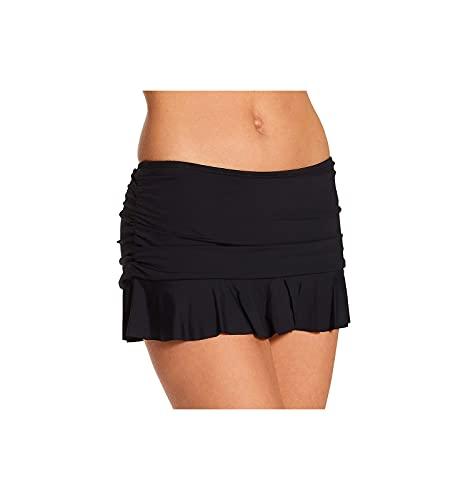 La Blanca Women's Standard Island Goddess Skirted Ruffle Hipster Bikini Swimsuit Bottom, Black, 12