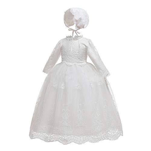 Bmeigo Doopjurken voor Babymeisjes - Doopjurk Kant Lange Mouw Prinses Formele Feestjurken Outfit Bonnet voor 0-24 Maanden