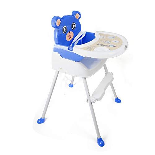 ROMYIX - Silla alta plegable para bebé (4 en 1), ajustable, convertible y plegable, color azul