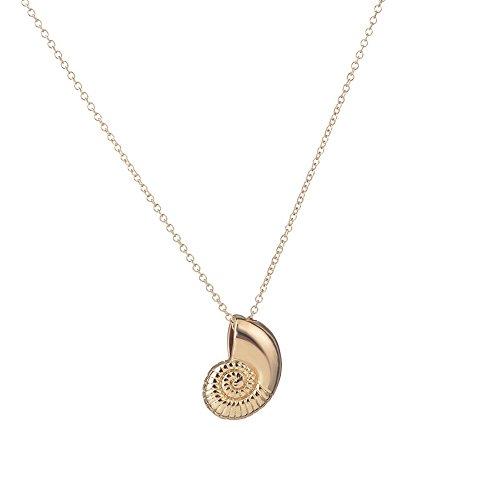 Meiligo Fashion Woman Conch,snail,shell Charm pendant necklace (Gold)