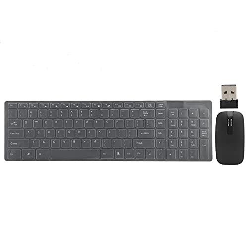 Schlankes Kabelloses Tastatur- und Maus-Set, 2,4 G Kompakte Schnurlose USB-Tastatur und -Maus-Kombination, Ultradünn, für Smartphones, Tablet-Computer und Notebooks(schwarz)