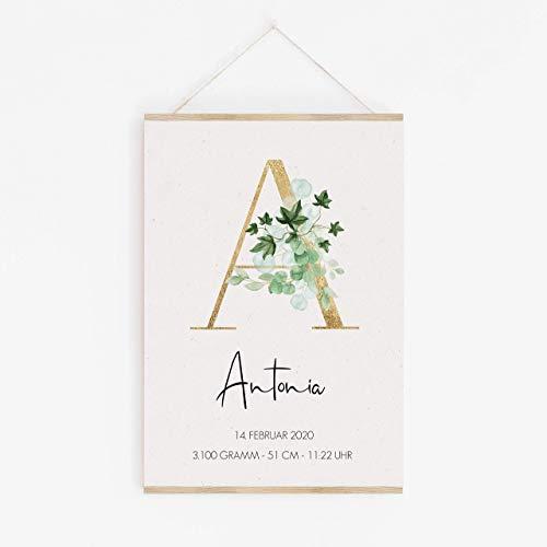 Geburtsanzeige | personalisiert | Monogramm | Buchstabe | Greenery | Kinderzimmer Deko Poster | Geschenk zur Geburt | Babygeschenk