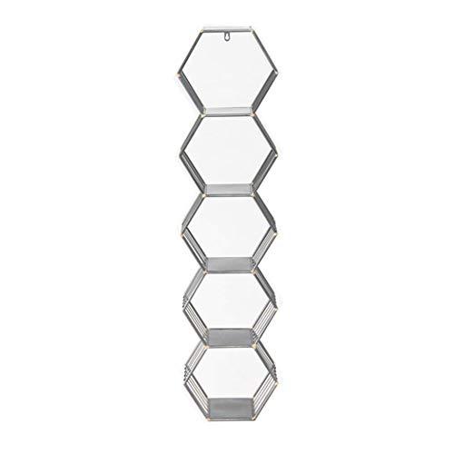 BHKHDFJ1 Baldas flotantes Estantes flotantes for Marcos de Fotos y Libros, decoración de celosía Hexagonal de Hierro de Arte de Metal, 5 Capas Estantes de Pared