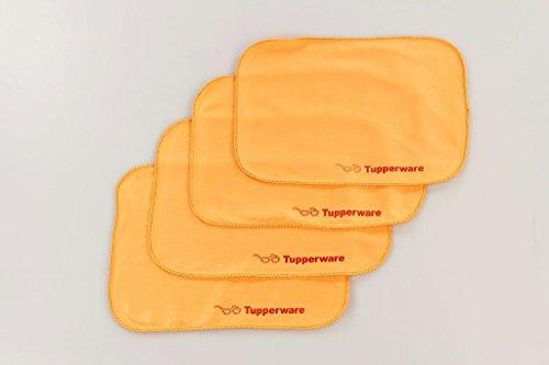 TUPPERWARE FaserPro Durchblick orange (4) T18 Brillenputztuch Brille Putztuch P 22685