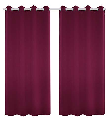 WOLTU #488-2, 2 x Gardinen Vorhang Blickdicht mit Ösen, 2er Set leichte & weiche Verdunklungsvorhänge für Wohnzimmer Schlafzimmer Tür, 135x225 cm, Brombeere