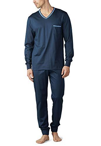 Mey Night Uni Basic Herren Schlafanzüge lang Blau 52