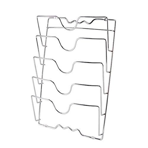 Zwbfu Soporte para tapa de ollas, rack de 5 capas, ranura en forma de U, soporte de almacenamiento, organizador de pared, accesorio de cocina