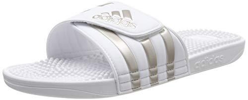 adidas Unisex-Erwachsene Adissage Badeschuhe, Weiß (Footwear White/Platin Metallic/Footwear White 0), 47 EU