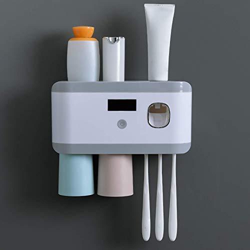 TANGX Porta Cepillo De Dientes con Esterilización UV, Porta Cepillo De Dientes para El Baño Porta Cepillo De Dientes Montado En La Pared con Función De Esterilizador, 2 Vasos Magnéticos…