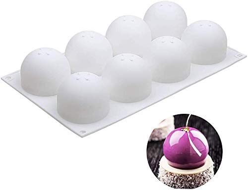 Baker Boutique 3D Sphere Silicon Mold, Round Mousse Cake Baking Molds, Dessert Molds für Jelly, Ball Pastry and Ice Cream Bombe, 11.5 x 6.8 x 2.2 Inch (Single Sphere Mold: D 2.4 x 2.2 Inch)