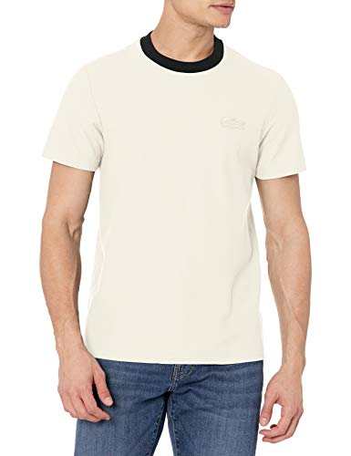 Lacoste Men's Short Sleeve Contrast Collar with Tonal Croc T-Shirt, Flour/Abysm, L