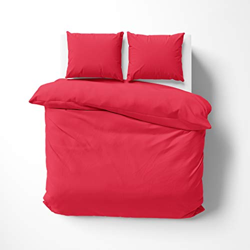 savastextile Red Small Double Duvet Set Of 3 - Duvet Cover Cotton Duvet Covers - Cat Duvet Cover For Bed -Easyfit Bedding 3 In 1 Duvet Bedding Set For Small Double Bedding - Hotel Quality Bedding
