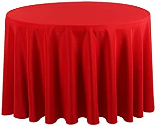 Waysle 120-Inch Round Tablecloth, 100% Polyester Washable Table Cloth for Circular Table, Red