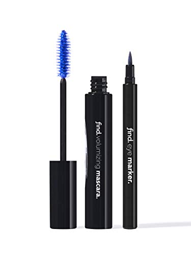Marca Amazon - find. Mood Blue (Máscara de volumen azul + Delineador de ojos en rotulador azul)
