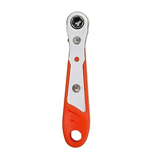 Mini Llave De Trinquete Magnética 1/4'(6.35mm) Hexagon Torx Control Bidireccional para Herramienta De Brocas De Destornillador De Cabeza Doble/Doble (Color : Orange)