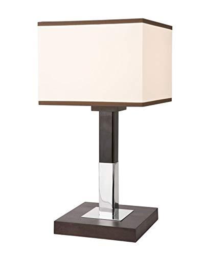 Eckige Nachttischlampe Stoff Schirm Braun Creme H:37,5cm wohnliches Design Tischleuchte Schlafzimmer Hotel