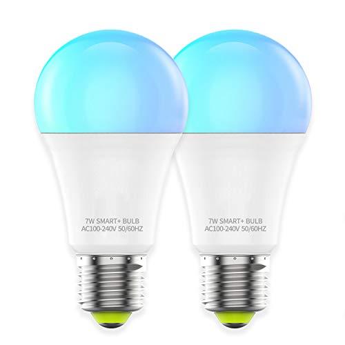 HaoDeng WIFI スマート LED電球 カラフル(1600万色+電球色+昼光色 )AlexaとGoogle Homeで使用 アレクサ対応 60W相当 E26口金 非常灯 玄関灯 家電照明 超省エネライト 調光調色ランプ ワイヤレス リモコン 目覚め タイマー機能 2個セット