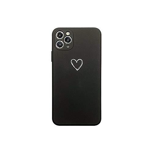 Lindo Silicona Líquido Caso Para iPhone 11 XR 7 8 Plus 11Pro XS Max Lente Cuadrada de la Cámara de la Cubierta Para iPhone SE-Negro-Para iPhone XS