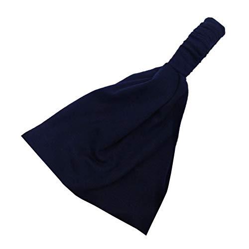 Yosemite Color Sólido Mujeres Diadema Banda Ancha Banda Absorbente para Deportes Running Yoga Fitness Hairband Azul Oscuro#