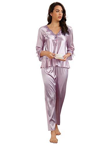 ohyeahlady Mujer Conjunto de Pijama Satén Cómodo y Elegante 2 Piezas Invierno Pijama Seda Super Suave Bordado Regalo para Ella(Estilo 1:Violado, L-XL)