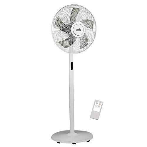 ANSIO Standventilator 40cm mit Fernbedienung - Ventilator- Standlüfter- höhenverstellbarer Standfuß- Sockelventilator mit 8 Drehzahlstufen – weiß (Batterien NICHT im enthalten)