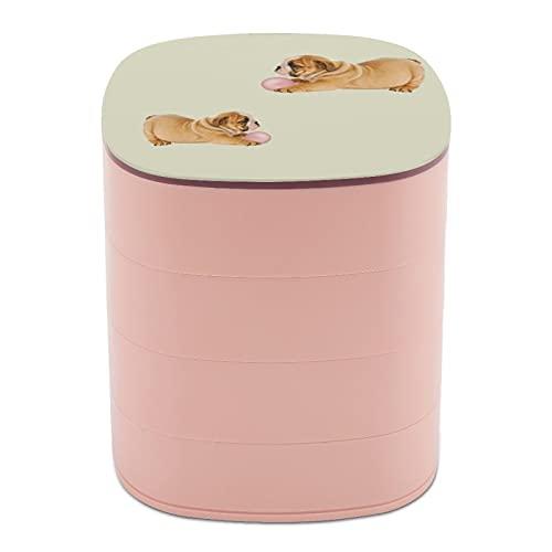 Rotate The Jewelry Box Print Cute Bulldog Pet Dog Francia Diseño multicapa joyería organizador caja con espejo para mujeres niñas y niños