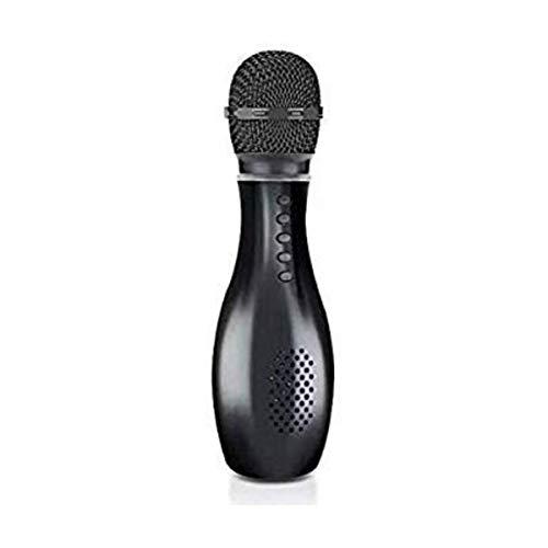 PremiumAV Portable Wireless Microphone Bluetooth Speaker Bowling Shape Smart Karaoke Sing audio player family microphone Handheld karaoke Mic (Black)
