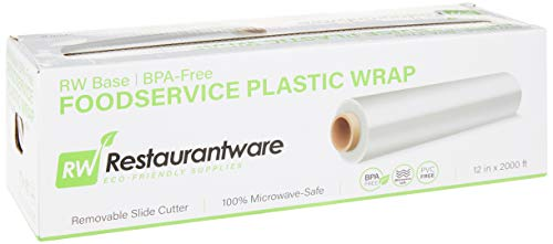 RW Base 12 Inch x 2000 Feet Cling Wrap, 1 Roll Microwave-Safe Cling Film - With Removable Slide-Cutter, BPA-Free, Clear Plastic Food Wrapping Film, Securely Seal And Keep Food Fresh - Restaurantware