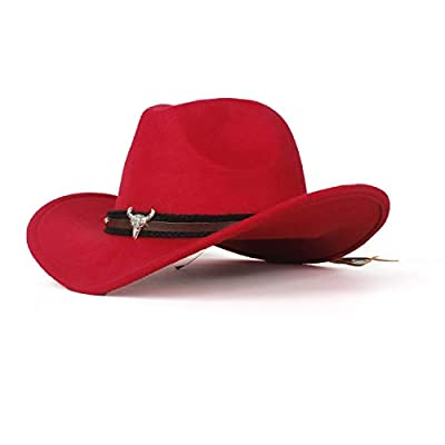 LL Fashion Ladies Wool Felt Western Cowboy Hat Jazz for Cowgirl with Bull Head Leather (Color : Red, Size : 56-59cm)