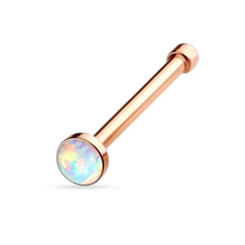 viva-adorno® 0,8mm Nasenstecker Nasenpiercing Piercing Stecker Opal Chirurgenstahl 316L Z506, Rosegold gerade