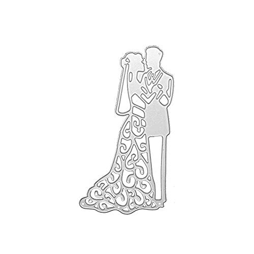 Hinleise Troqueles de corte de boda novio novia metal plantilla de corte...