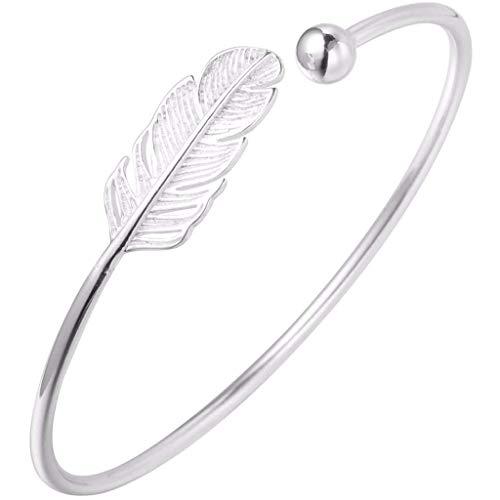 Pulsera de plumas para mujer, ajustable, regalo de joyería
